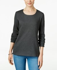 Karen Scott Long Sleeve Scoop Neck Top Only At Macy's Charcoal Heather
