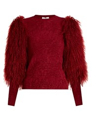 Sonia Rykiel Fur Sleeve Crew Neck Sweater Burgundy