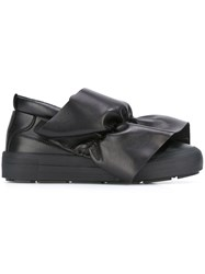 Msgm Frontal Drape Slip On Sneakers Black