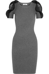 Opening Ceremony Ruffled Ribbed Stretch Knit Dress Gray