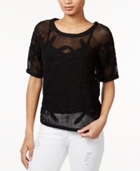 Bar Iii Embroidered Mesh Top Only At Macy's Deep Black