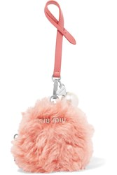 Miu Miu Faux Pearl Embellished Shearling And Leather Keychain Pink