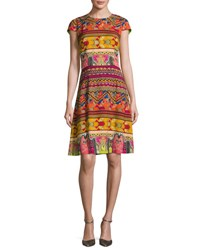 Etro Ribbon Print Cap Sleeve A Line Dress Red