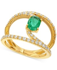 Macy's Emerald 7 8 Ct. T.W. And Diamond 1 2 Ct. T.W. Ring In 14K Gold Green