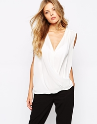 Mango Sleeveless Wrap Blouse White