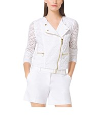 Michael Michael Kors Eyelet Embroidered Cotton Moto Jacket