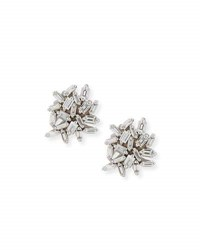 Suzanne Kalan White Baguette Diamond Cluster Earrings In 18K White Gold