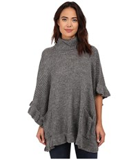 Steve Madden Ribbed Turtleneck Poncho W Ruffle Border Heather Grey Women's Sweater Gray