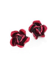 Oscar De La Renta Rose Stud Earrings Red