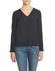 1.State Long Sleeve Slit Sleeve V Neck Blouse Rich Black