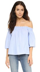 Glamorous Off Shoulder Blouse Blue White Stripe