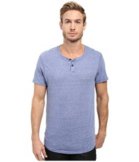 Alternative Apparel Eco Jersey Shirttail Henley Eco Pacific Blue Men's Long Sleeve Pullover