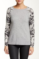 Sofia Cashmere Animal Print Sleeve Cashmere Sweater Gray