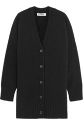 Jil Sander Oversized Wool And Cashmere Blend Cardigan Black