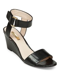 Louise Et Cie Phiona Leather Wedge Sandals Black