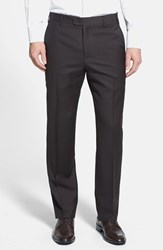 Men's Big And Tall Zanella 'Devon' Flat Front Wool Trousers Dark Brown