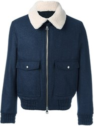 Ami Alexandre Mattiussi Shearling Collar Zipped Jacket Blue