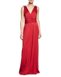 Jenny Packham Jeweled Surplice Draped Gown
