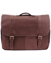 Kenneth Cole Reaction Colombian Leather Laptop Messenger Bag Brown
