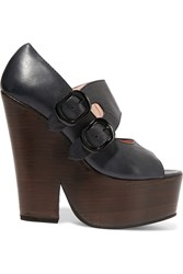 Carven Leather Wedge Sandals Black