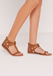 Missguided Laser Cut Detail T Bar Flat Sandal Tan Brown