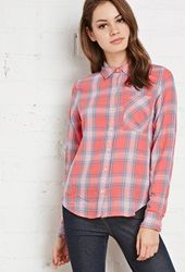 Forever 21 Plaid Pocket Shirt Salmon Turquoise