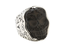 King Baby Studio Carved Jet Day Of The Dead Skull In Silver Frame Ring