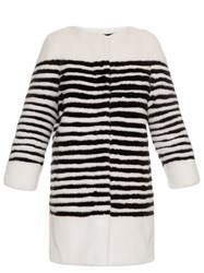 Lilly E Violetta Ferretti Striped Collarless Mink Fur Coat White Black