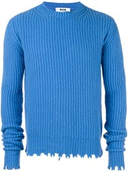 Msgm Raw Edge Crew Neck Sweater Blue