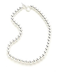 Lauren Ralph Lauren Mirrored Bead Necklace Silver