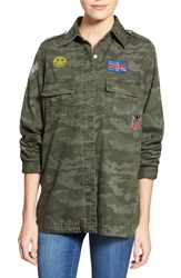 Lee Cooper Patched Camo Shirt Army Overdye