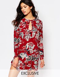 Milk It Vintage Long Sleeve Swing Dress With Key Hole In Paisley Red