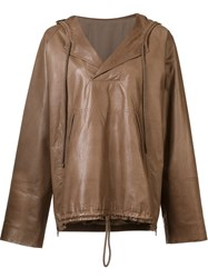 By. Bonnie Young Leather Anorak Brown
