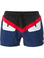 Fendi Bag Bugs Swim Shorts Blue