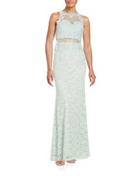 Betsy And Adam Illusion Lace Gown Mint