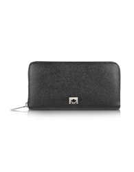 Pineider City Chic Women's Zip Around Calfskin Wallet Black