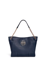 Tory Burch 'Britten' Small Pebbled Leather Chain Tote Blue