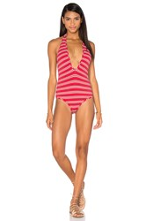 Zimmermann Roza Knit Halter One Piece Swimsuit Red