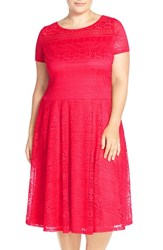 Plus Size Women's Sangria Stretch Lace Fit And Flare Dress Bright Peony