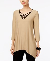 Ny Collection Asymmetrical Lace Up Top Mocha Gold Foil W Black Trim
