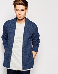 Asos Cable Knit Bomber Jacket Denim