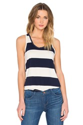 Stateside Large Rugby Stripe Scoop Neck Tank Navy