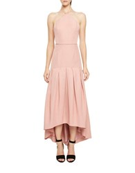 Jill Stuart Silk Blend Pleated High Lo Dress Dusty Rose
