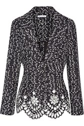 Oscar De La Renta Printed Boucle Jacket Blue
