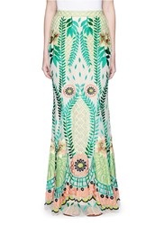 Temperley London 'Belle' Floral Embroidery Tulle Maxi Fishtail Skirt Green Multi Colour