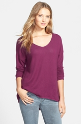 Gibson High Low V Neck Sweater Purple Potion