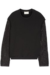 3.1 Phillip Lim Embroidered Organza Trimmed French Cotton Terry Top Black