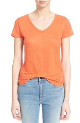 Women's Majestic V Neck Linen Tee Summer Sunset