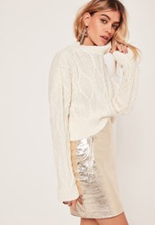 Missguided Chunky Cable High Neck Crop Jumper Cream