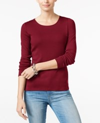 Charter Club Pima Cotton Long Sleeve Top Cranberry Red